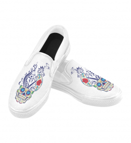 Blue Diamond Skull Women's Slip On Canvas Shoes