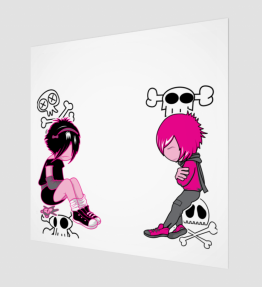 Pink Girl And Boy Art Print (Limited Edition)