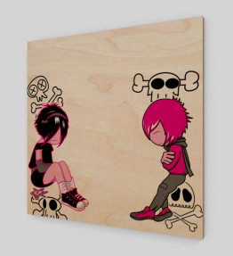 Pink Girl And Boy Wood Print (Limited Edition)