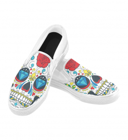 Rose Skull Slip On Canvas Women's Shoes