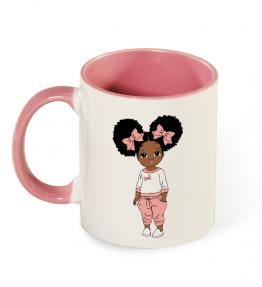 Looking Cute Coffee Mug 11 Oz with Colored Handle